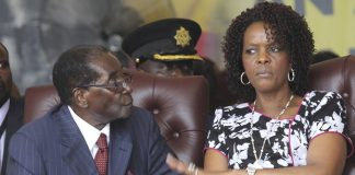 Robert Mugabe with his wife Grace at his 92nd birthday celebrations last year. Photograph: Tsvangirayi Mukwazhi/AP