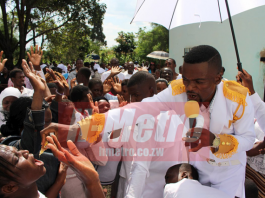 Prophet Brighton Chikomo called his followers to the altar where he was 'dishing' out 'anointed' honey which he claimed had powers to deliver them from different ailments.
