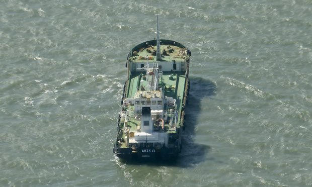 The Aris 13 oil tanker, which has been released by Somali pirates, just off the harbour of Gladstone, Australia, in 2014. Photograph: Kevin Finnigan/AP