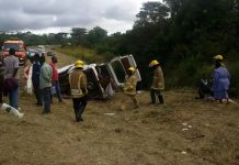 Emergency response teams and onlookers at the crash site near Gweru