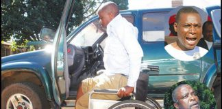 National People's Party (NPP) presidential spokesman Mr Gift Nyandoro (also bottom inset) helps himself from a wheelchair on arrival at a private hospital after being assaulted and injured by the party's spokesperson Jealousy Mawarire (top inset) in Harare yesterday. — (Picture by Kudakwashe Hunda)