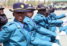 Police recruits go through their drills at a pass-out parade at Ntabazinduna Police Training Depot
