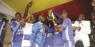 Dynamos players celebrate after winning the Independence Cup in Harare