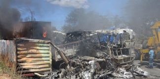 Over 20 passengers were burnt beyond recognition while 41 were critically injured in a horrific accident that happened when a South Africa-bound Proliner Bus sideswiped with a haulage truck and caught fire in Chirumanzu.