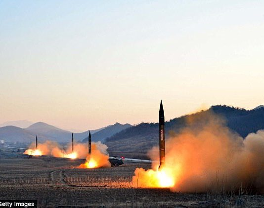 This undated picture released by North Korea's Korean Central News Agency on March 7, 2017 shows the launch of four ballistic missiles by the Korean People's Army