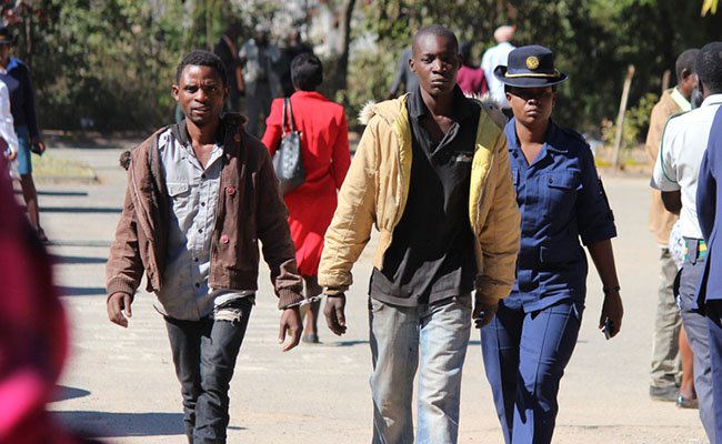 File picture of robbery suspects being escorted by police