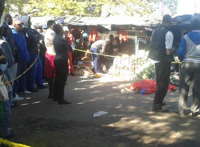 Murder scene at Bulawayo Market