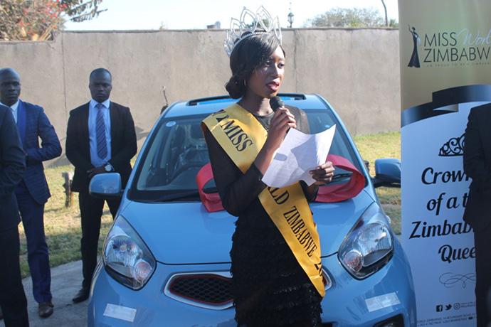 Miss World Zimbabwe queen celebrates after receiving her car