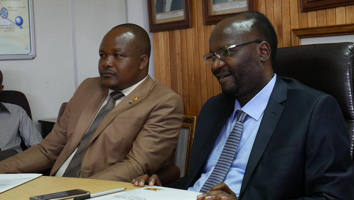 Minister of Higher and Tertiary Education, Science and Technology Development, Professor Jonathan Moyo and his deputy Godfrey Gandawa (left)
