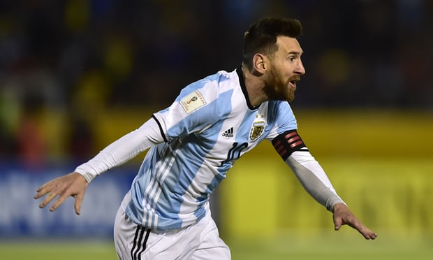 Lionel Messi scored a hat-rick after Argentina went down to an early Ecuador goal. Photograph: Rodrigo Buendia/AFP/Getty Images