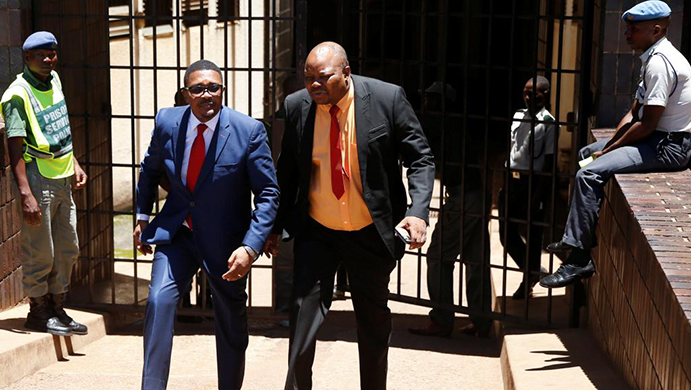 Former Foreign Affairs Minister Walter Mzembi seen here with his lawyer Job Sikhala