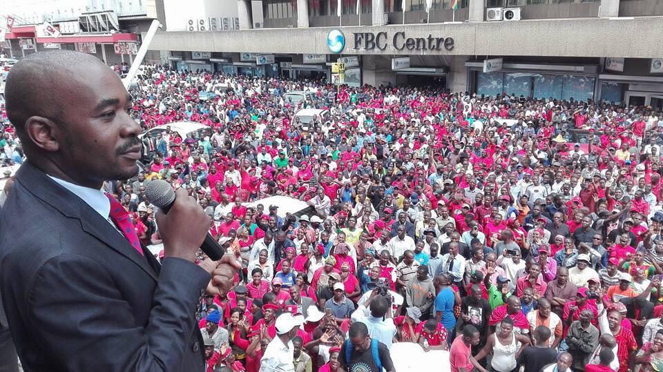 Nelson Chamisa addressing MDC supporters outside Harvest House in Harare