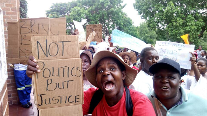 Hwange Colliery workers wives demonstrating for payment of their husbands' salaries