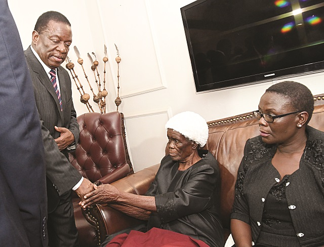 President Emmerson Mnangagwa consoles Gogo Lydia Chibwe, mother to the late former Prime Minister Mr Morgan Tsvangirai in Harare yesterday. — Picture by Joseph Nyadzayo