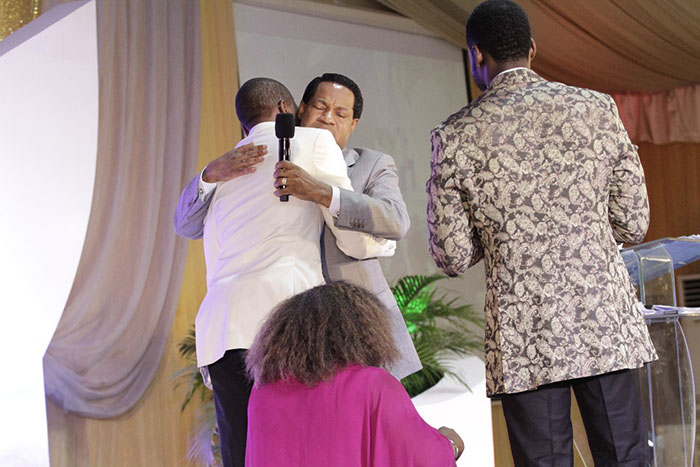 """It was almost like a homecoming this past week as flamboyant preacher/businessman Uebert Angel travelled to Nigeria for a """"Global Finance Conference"""" where he met and spent some time with popular Nigerian televangelist, Chris Oyakhilome (Pastor Chris), the founder ofChrist Embassy."""