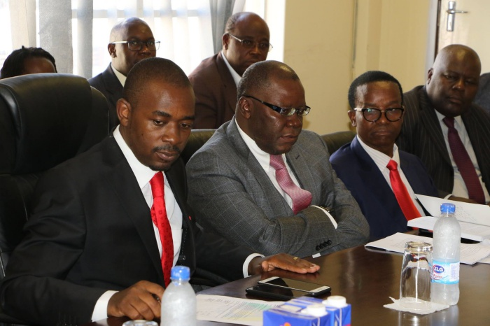 File picture of Nelson Chamisa and Tendai Biti in a meeting with other senior officials