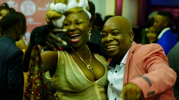 Actress Sarah Mpofu and William Nyandoro from the National Arts Council of Zimbabwe. (Picture by KB Mpofu)