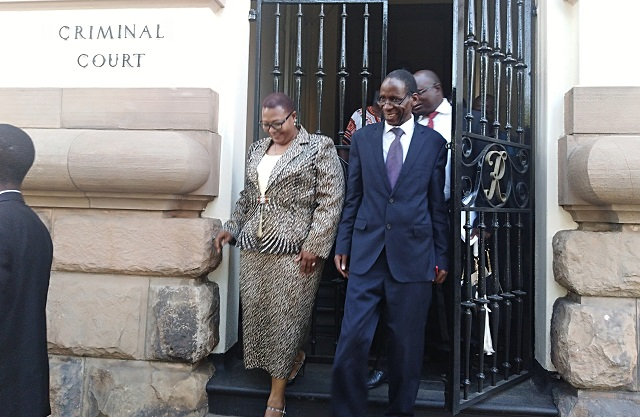 Dr Thokozani Khupe and her lawyer Professor Lovemore Madhuku walk out of the High Court in Bulawayo