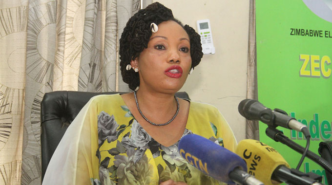 Zimbabwe Electoral Commission chairperson Justice Priscilla Chigumba announces the commencement of the provisional voters' roll inspection to members of the media at a Press conference in Harare recently. - (Picture by Kudakwashe Hunda)