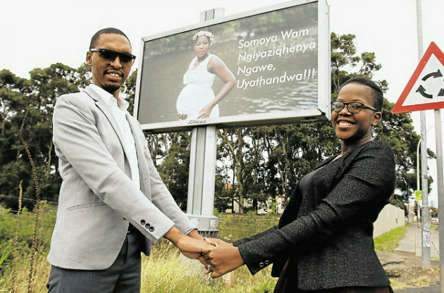 The man based in the Eastern Cape, who grew up in Bulawayo's Old Pumula suburb popularly known as emadonkini area went a step further by putting up a billboard along a busy highway in South Africa with his pregnant wife Sindiso as the star attraction.