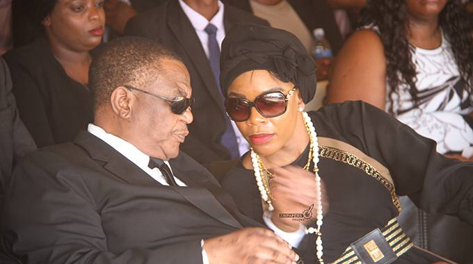 Acting President Costantino Chiwenga and wife Mary at the burial of his sister Margaret Machekabuwe in Marondera today. Picture by Justin Mutenda