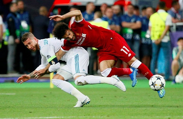 Salah was injured during a challenge with Real Madrid captain Sergio Ramos