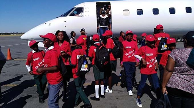 A group of under-privileged children who were flown to Victoria Falls by some companies as part of their corporate social responsibility programmes