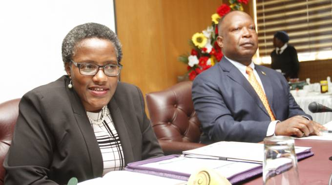 Zimra Commissioner-General Ms Faith Mazani addresses diplomats in Harare while Ministry of Foreign Affairs and International Trade, Director of Policy Research and Training, Mr Gideon Gapare looks on during a meeting. — Picture by John Manzongo