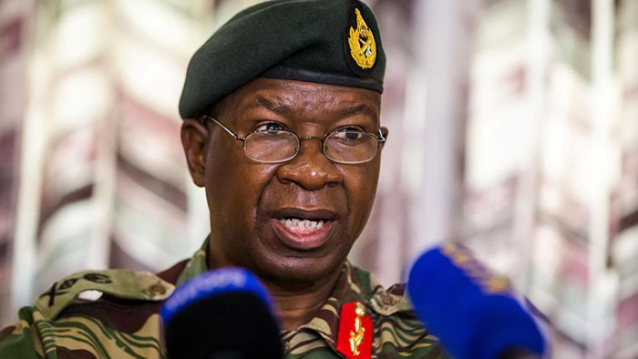 Zimbabwe national army Commander Lieutenant-General Philip Valerio Sibanda is pictured after a press briefing