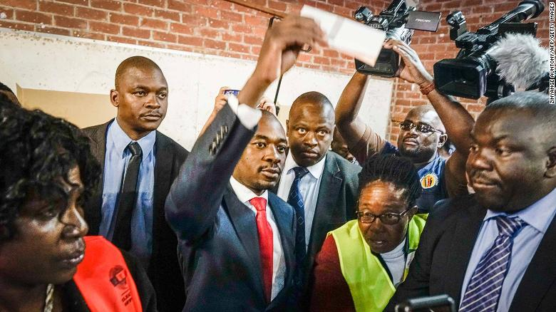 Zimbabwe's opposition leader Nelson Chamisa casts his vote at polling station during Zimbabwe General Elections on July 30, 2018 in Harare. (Photo by Zinyange AUNTONY / AFP) (Photo credit should read ZINYANGE AUNTONY/AFP/Getty Images)