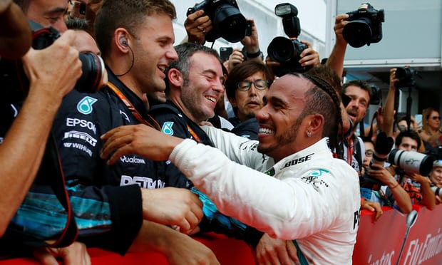 Lewis Hamilton won the German Grand Prix after starting in 14th. Photograph: Ralph Orlowski/Reuters