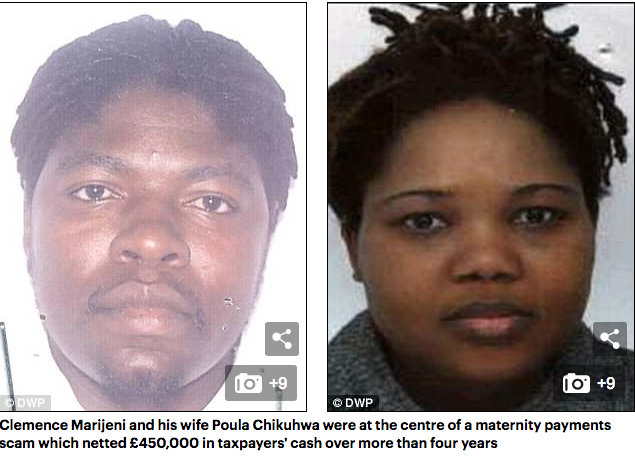 Clemence Marijeni and his wife Poula Chikuhwa were at the centre of a maternity payments scam which netted £450,000 in taxpayers' cash over more than four years