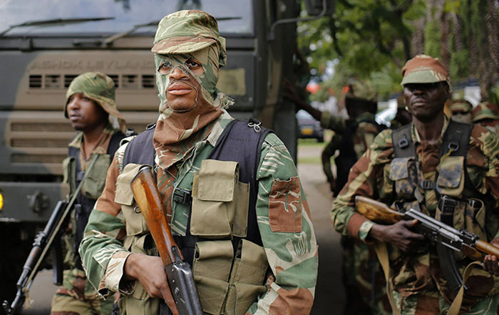 Members of the Zimbabwe National Army during the November 2017 coup that toppled President Robert Mugabe (Picture by EPA)