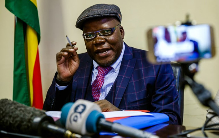 In this file photo taken on June 01, 2018 MDC Alliance Spokesperson Tendai Biti speaks during a press conference during which he announced that Zimbabwe's opposition parties are calling for electoral reforms ahead of the July 30 general elections and that there will be street demonstrations in the capital Harare on June 5. (AFP PHOTO / Jekesai NJIKIZANA)