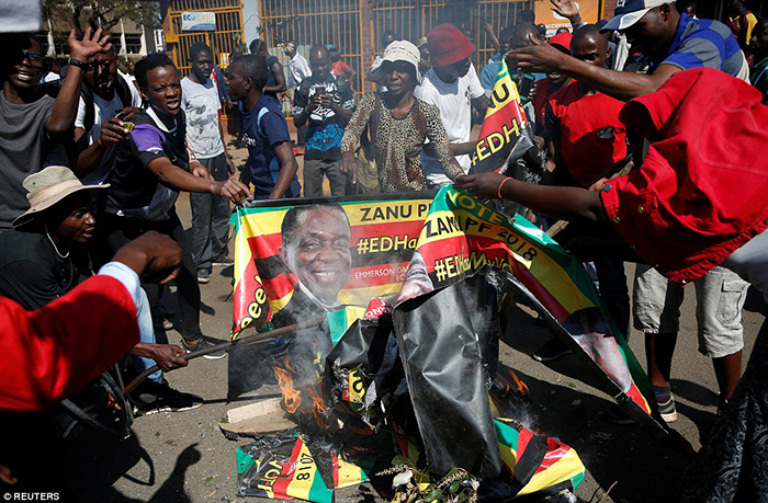 Anger: Supporters of the opposition Movement for Democratic Change party (MDC) of Nelson Chamisa burn an election banner with the face of Zimbabwe's President Emmerson Mnangagwa in Harare