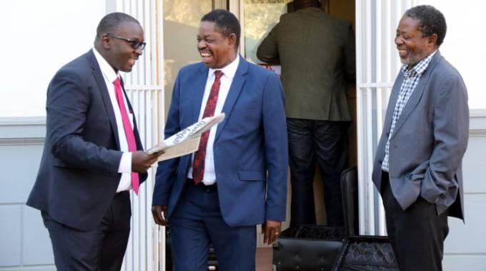 Lead defence counsel Advocate Lewis Uriri (left), Zanu PF secretary for Legal Affairs Munyaradzi Paul Mangwana (centre) and veteran lawyer Mr Shingi Israel Mutumbwa