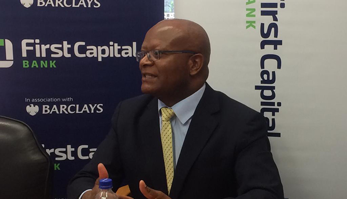 First Capital Bank Managing Director Samuel Matsekete addressing the media