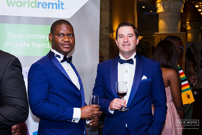 Pardon Mujakachi and Andrew Stewart of WorldRemit at the recent Zim Achievers Gala in South Africa. (Picture by Felix Moyo)