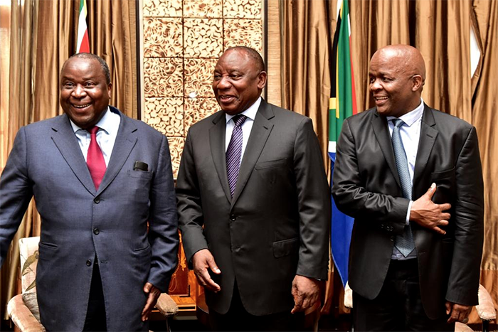 President Cyril Ramaphosa (centre) appointed Tito Mboweni (left) as the new Finance Minister