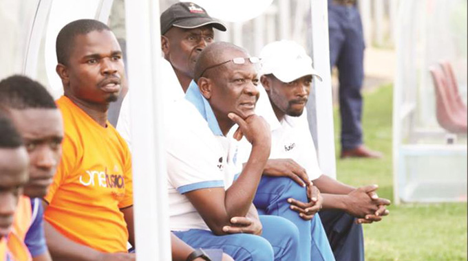 TAG TEAM . . . Richard Chihoro (left), Lloyd Chigowe (centre) and Murape Murape closely follow proceedings during Dynamos' league match against FC Platinum at Mandava