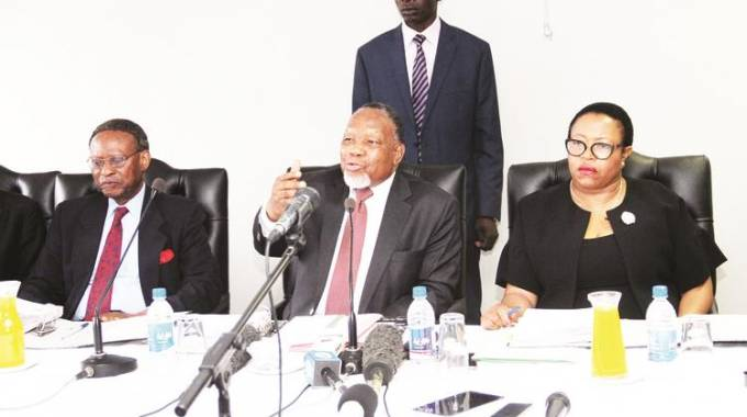 Former South African President and chairperson of the Commission of Inquiry into the August 1 post-election violence Cde Kgalema Motlanthe flanked by Professor Charity Manyeruke (right) and Chief Emeka Anyaoku at a public hearing in Harare 16 October 2018. —(Picture by Innocent Makawa)