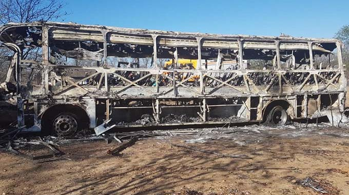 The shell of the vehicle yesterday morning. Forty-two people were killed, while 26 others escaped with various degrees of injuries