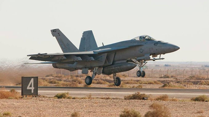 The F/A-18 fighter jet, similar to the one pictured, had two crew onboard when it crashed. – AFP/US Air Force/File