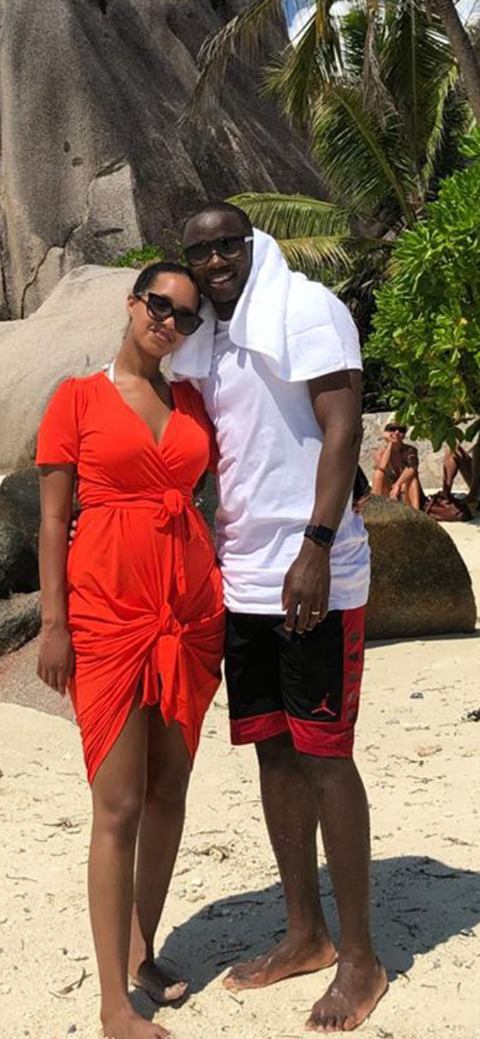 BEAUTY AND THE BEAST . . . Nyasha Mushekwi enjoys the company of his new Swedish wife Arsema Ghebrehiwot after he proposed to her whilst on holiday in Seychelles in November last year