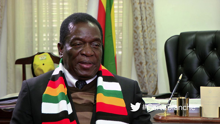 President Emmerson Mnangagwa during an interview on Carte Blanche in 2018