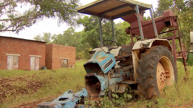 Some farm equipment was left behind when the white farmers were forced out