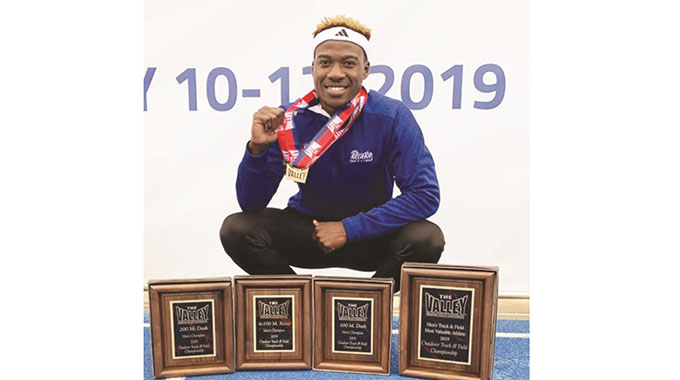 TO THE WINNER . . . Zimbabwean sprinter Kundai Maguranyanga proudly displays his four MVC individual awards he collected this year after the Missouri Valley Conference Outdoor Track & Field Championship at Terre Haute in Indiana, United States, on Sunday
