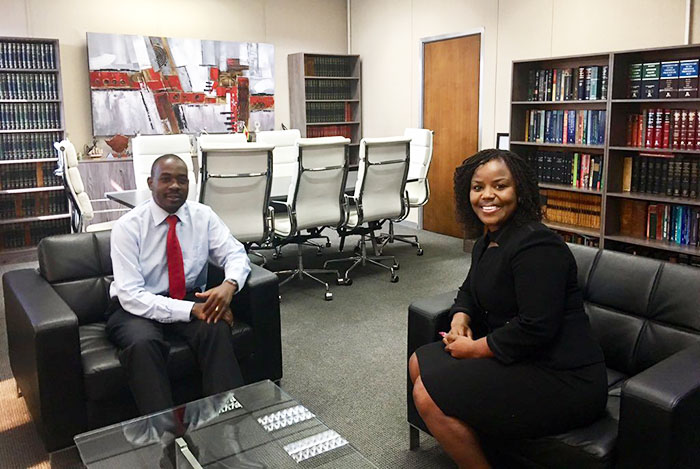 Nelson Chamisa with Fadzayi Mahere in May 2019