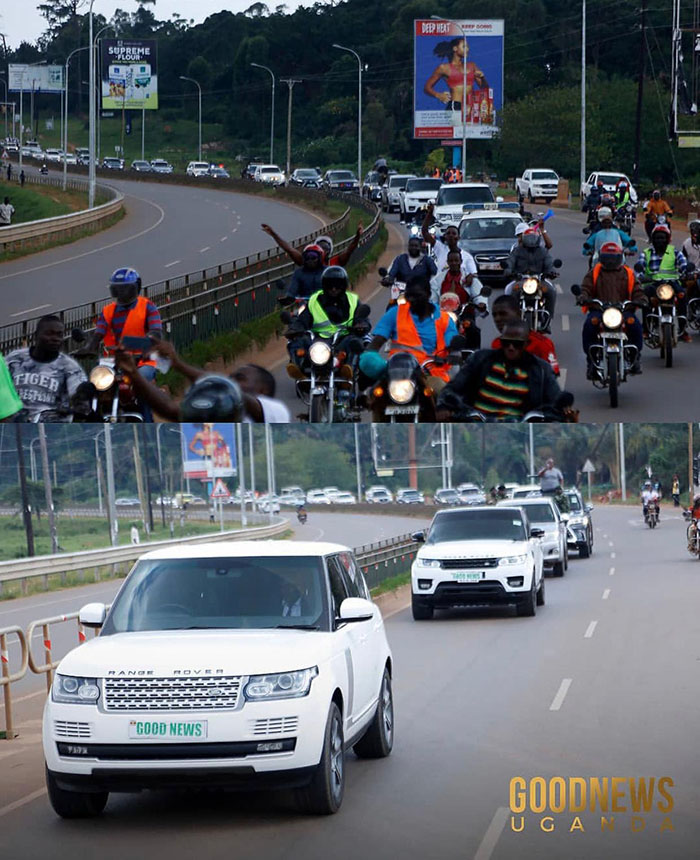 Zimbabwean preacher Uebert Angel put on a show in Uganda over the weekend, first arriving in a massive motorcade that had dozens of Range Rovers, police escort vehicles and motorbike riders, before capping it with an estimated 70 000 crowd at the Entebbe New Jerusalem Stadium.