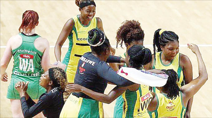 Zimbabwe's senior national netball team, the Gems celebrate after beating Northern Ireland at the Vitality Netball World Cup in Liverpool, England, yesterday (Picture from BBC Sport)